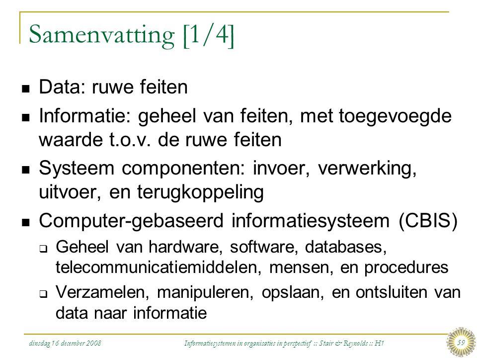 Samenvatting [1/4] Data: ruwe feiten